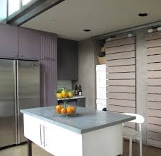 san francisco sliding shelves kitchen contemporary with blue and
