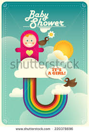 baby shower poster baby shower poster rainbow vector illustration stock vector
