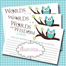 bridal shower words of wisdom cards baby shower card ending fresh words of wisdom advice cards owl