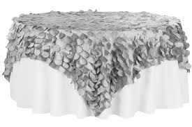 silver lace table overlay petal circle taffeta 90 x90 square table overlay silver cv linens