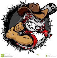 cartoon cowboy baseball face holding baseball bat royalty free
