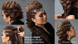 day night hairstyle mohawk braid into fishtail bun