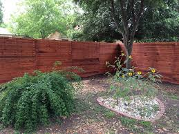 beautiful horizontal western red cedar fence was created from