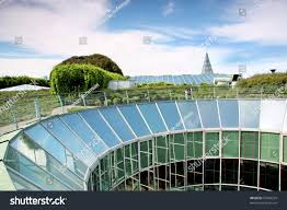 ecological modern building warsaw university poland stock photo