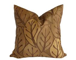 gold leaves pillows brown throw pillow cover antique gold