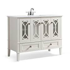 42 Bathroom Vanity With Top by Simpli Home Paige 42 Inch Bath Vanity With White Quartz Marble Top