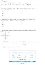 quiz u0026 worksheet fundamental theorem of algebra study com