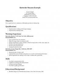 Resume Server Skills Bartending Resume Template Free Bartender Resume Templates