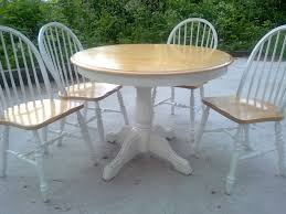 shabby chic round dining table round brown wooden top dining table with white wooden base also
