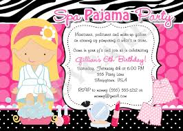 spa pajama party invitation invite spa party sleepover spa day