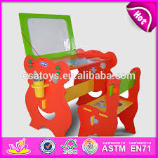 wooden kids desk and chairs with magnetic board wooden toy cheap