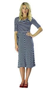 modest knit dress in navy white stripes