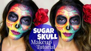day of the dead makeup for halloween colorful sugar skull makeup tutorial dia de los muertos