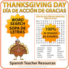 thanksgiving day word search in sopa de letras día de