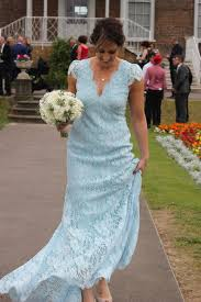 a bespoke lace wedding dress in blue for our bride jess sally lacock