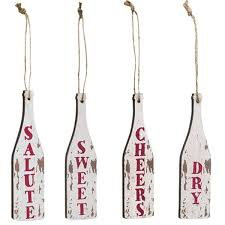 distressed wine bottle ornaments 4 set craft house designs
