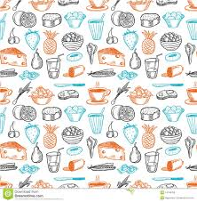 seamless pattern food food seamless doodles pattern stock vector illustration of