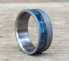 mens titanium wedding band mens titanium wedding band mens meteorite ring blue box