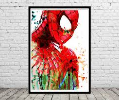 spiderman inspired watercolor painting art print