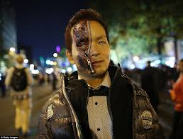 halloween revelers from superheroes to killer clowns celebrate in