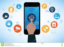 Smart Home Technology by Smart Home Technology Remote Home Control Online Stock Vector