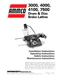 ammco 7700 drum and disc brake lathe user manual 20 pages also