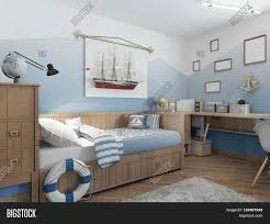 baby bed for a young teenager in a ship style with a lifeline and