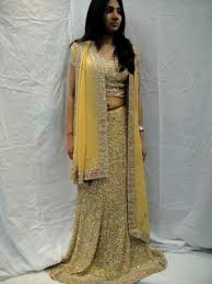 elegant yellow gold wedding bridal lehenga choli dress online in usa