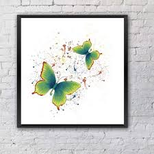 color butterfly canvas painting watercolor insects retro canvas