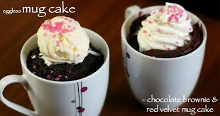 how to make brownie mug cake and red velvet mug cake in microwave