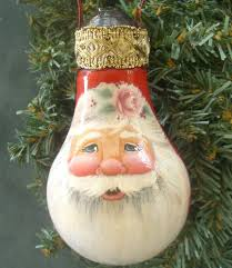 santa in red on recycled light bulb reclaimed christmas