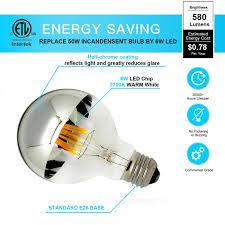 led half chrome edison vintage light bulbs with mirror 6w g80