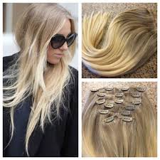Double Weft Hair Extensions by 5 Star Ombre Cuticle Remy Human Hair Clip In Weft Hair Extensions