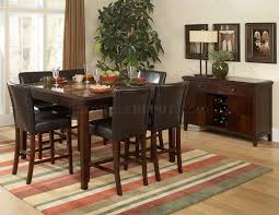 espresso classic counter height dining table w faux marble top