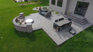 Backyard Paver Patios Backyard Pit With Seat Wall And Paver Patio Oasis Landscapes