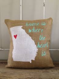 Home Is Where The Heart Is Burlap Pillow Home Is Where The Heart Is Pillow Customize