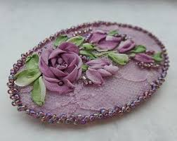 silk ribbon roses make a silk ribbon embroidery brooch hallockville museum farm