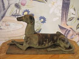 wonderful early 20th cent bronze model of a greyhound bronze