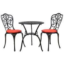 Aluminium Bistro Chairs Bentley Furniture Cast Aluminium Bistro Set Black With Cushions