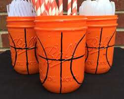basketball party supplies painted basketball birthday decor by monismasoncreations