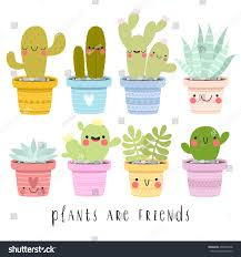 big set illustrations cute cartoon cactus stock vector 490848748
