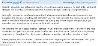 wedding gift hers uk mumsnet user posts email from and groom who said 100