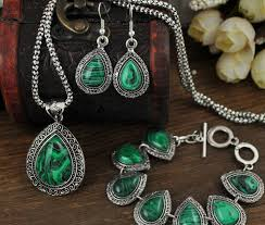 necklace women vintage images Fashion green malachite stone jewelry sets charm bracelet pendant jpg