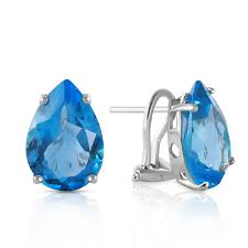 topaz earrings 14k white gold earring with blue topaz