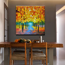 Livingroom Paintings by Aliexpress Com Buy 100 Hand Painted Wall Art Autumn Tree Road