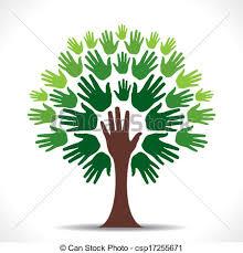 vectors illustration of green hand tree vector creative go green
