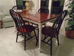 white farmhouse table black chairs rustic farmhouse table brown stained top white painted legs 4