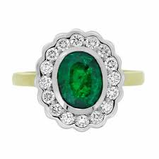 cluster rings emerald oval with diamond rbc rubover scalloped edge cluster ring