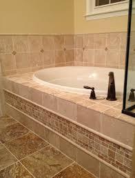 Travertine Bathtub Light Walnut And Scabos Travertine Traditional Bathroom