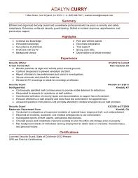 Personal Care Worker Resume Sample by Security Officer Resume Sample Experience Resumes